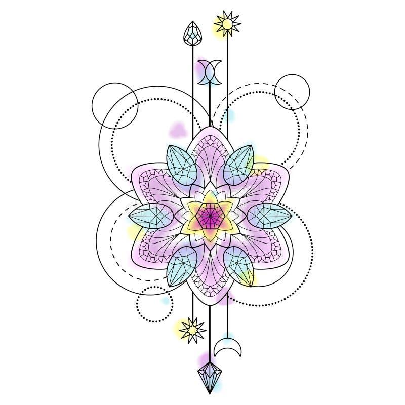 Abstrakte Mandala Symbol stock abbildung