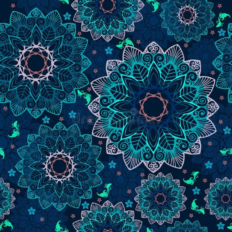 Abstrakte Mandalablume und kleine Fische entwerfen wie die Poolkonzepthandlungsfreiheit, die nahtloses Muster zeichnet lizenzfreie abbildung