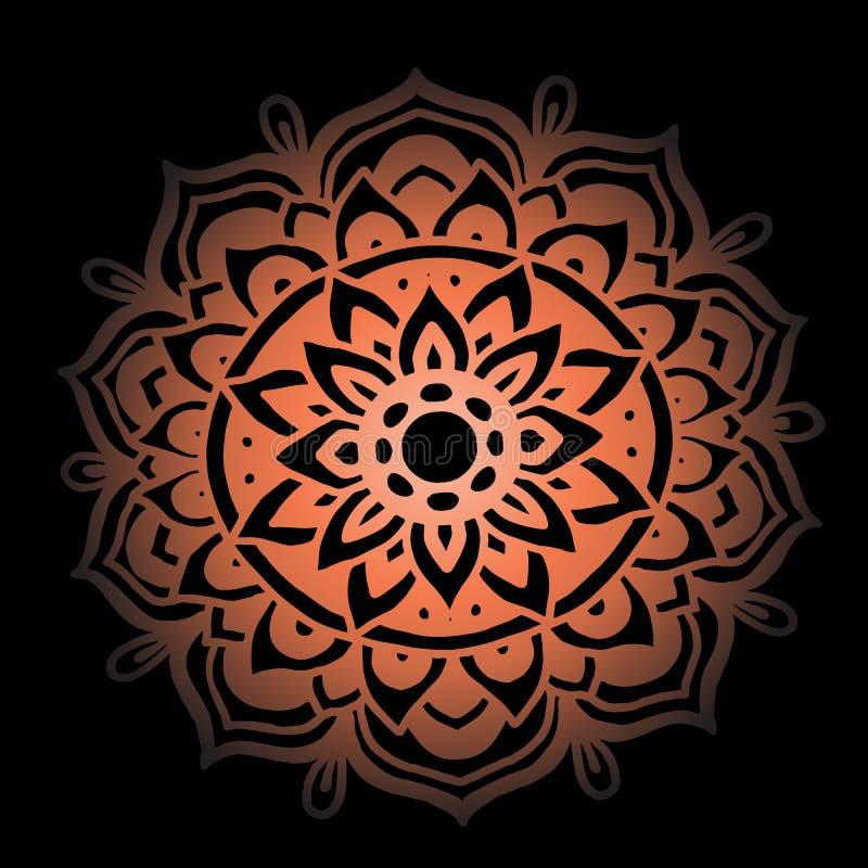 Abstrakte Mandalaverzierung für erwachsene Malbücher Asiatisches Muster Authentischer Hintergrund der orange Steigung vektor abbildung