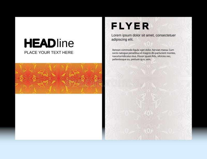 Abstrakte marokkanische geometrische Broschüren-FliegerEntwurf-Vektorschablone A4 in der Größe, Vertikale, CMYK-Farben lizenzfreie abbildung