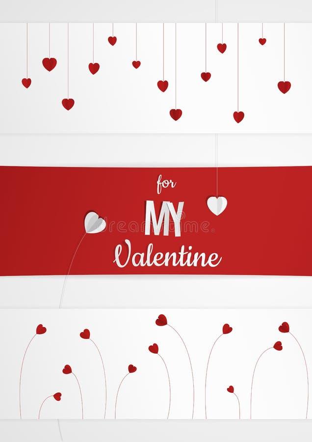 Download Abstrakte Mehrfache Karte Oder Hintergrund Des Valentinstags Mit  Geschnittenem Papierherzen Und Text Vektor Abbildung
