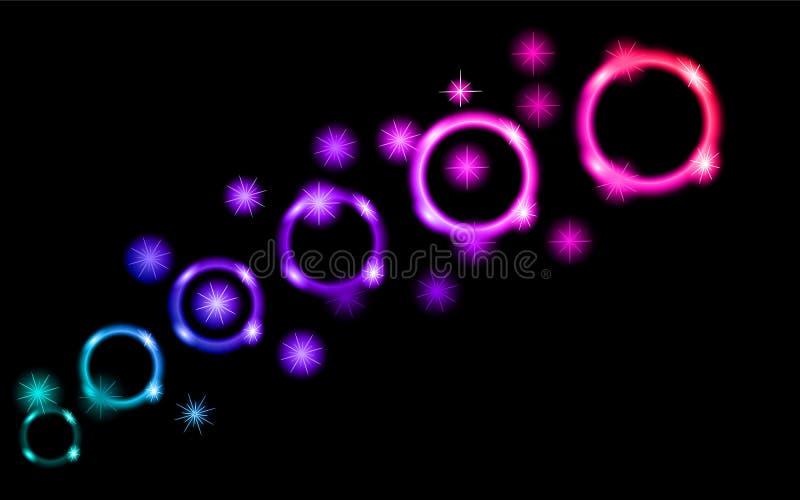 Abstrakte, mehrfarbige, Neon-, helle, glühende Kreise, Bälle, Blasen, Planeten mit Sternen auf einem schwarzen Hintergrund des Ra lizenzfreie abbildung