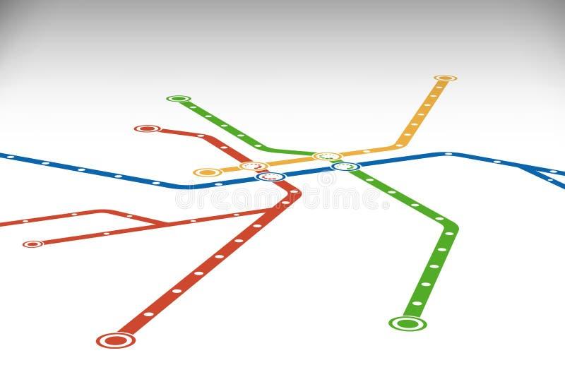 Abstrakte Metro- oder U-Bahn-Plan-Entwurfsschablone vektor abbildung