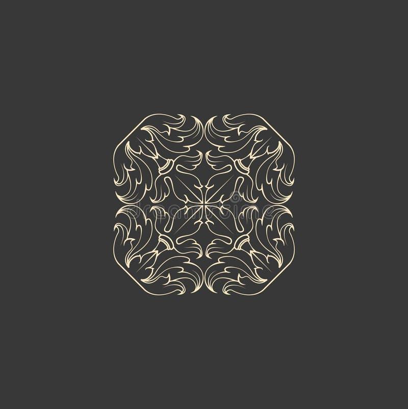 Abstrakte mit Blumenverzierung der quadratischen Form Dekorativer Entwurf, stock abbildung