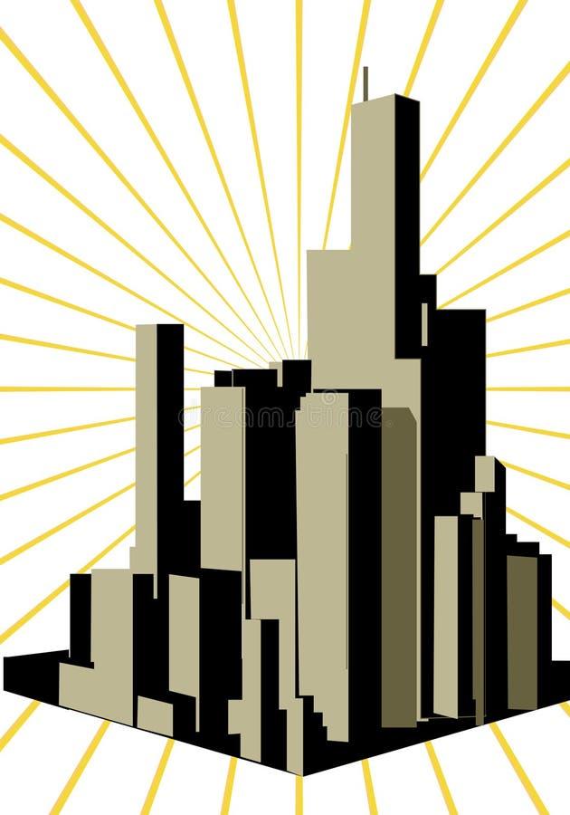 Abstrakte moderne Stadt lizenzfreie abbildung