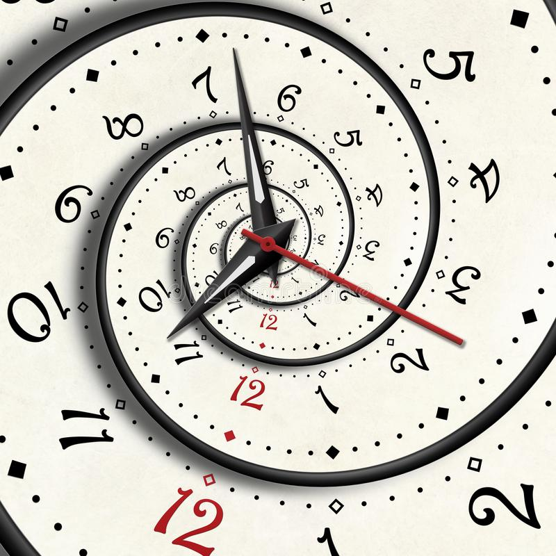 Abstrakte moderne Weißspiralenuhr Fractal-Uhrhandzeiger verdrehten Fractal Beschaffenheit der Uhruhr ungewöhnlicher abstrakter ho lizenzfreie abbildung