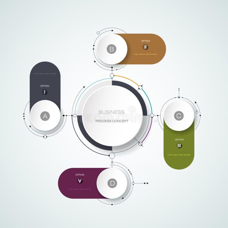 Abstrakte Moleküle des Vektors mit Aufkleber des Papiers 3D, infographic Schablone stock abbildung