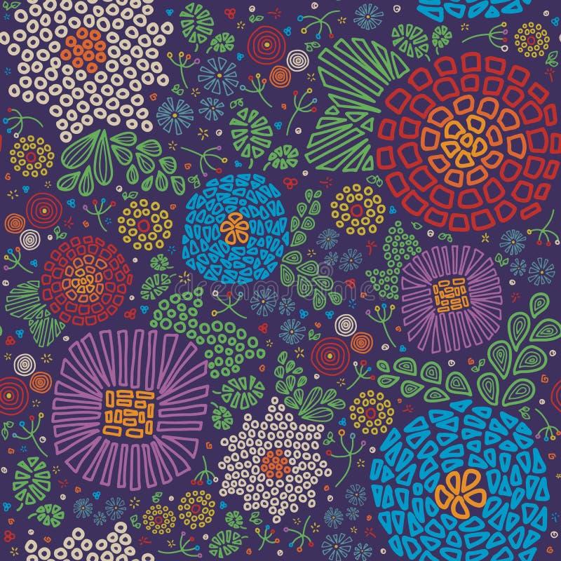 Abstrakte Mosaikart zerstreute purpurrotes grünes rotes weißes gelbes blaues nahtloses Vektormuster der Blumen vektor abbildung