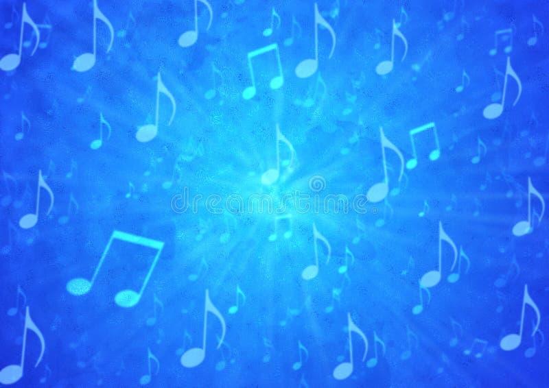 Abstrakte Musik-Anmerkungen starten im undeutlichen blauen Grunge-Hintergrund stock abbildung