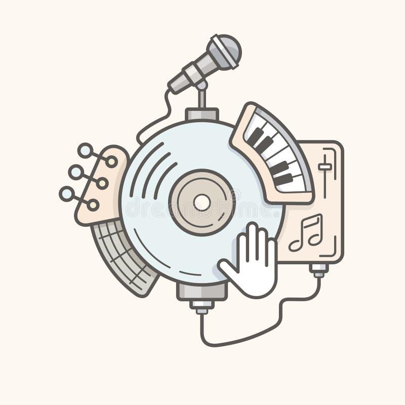 Abstrakte Musik bearbeitet Linie Ikone vektor abbildung