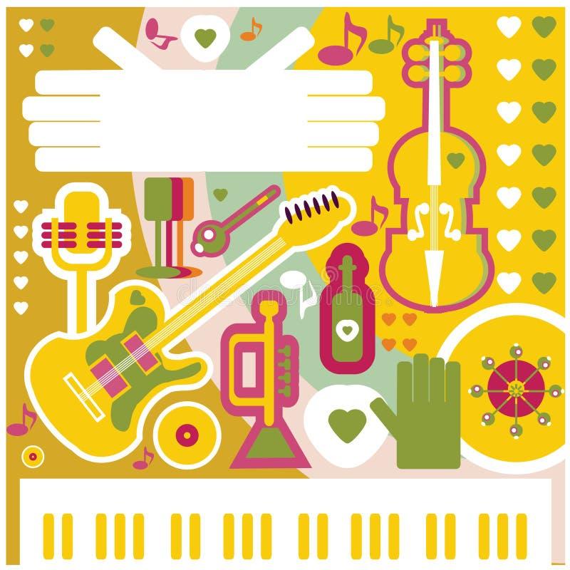 Abstrakte Musik-Hintergrundillustration Collagen-Musikikonen stock abbildung