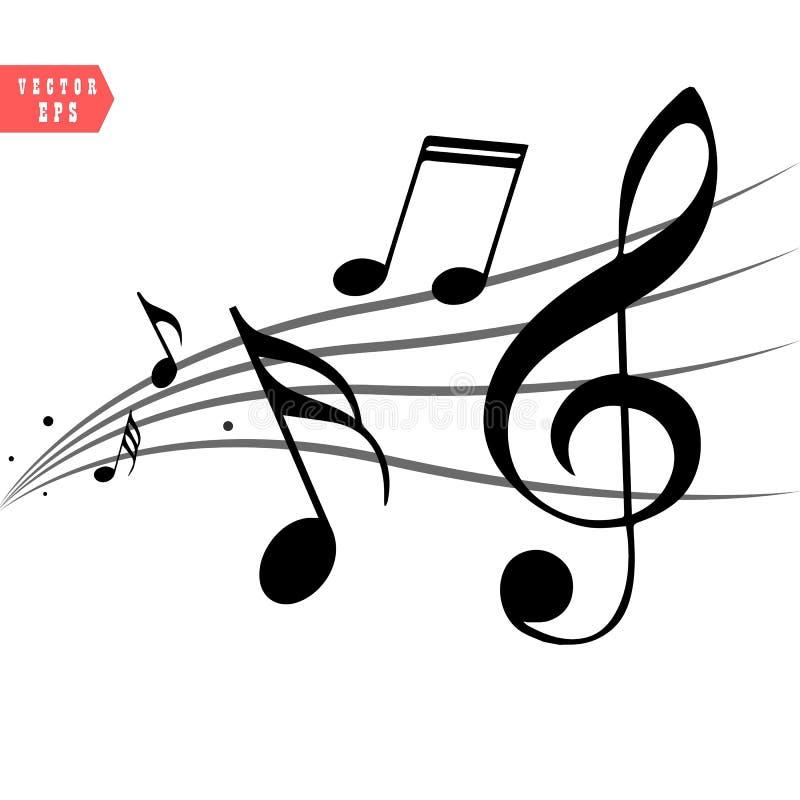Abstrakte Musikanmerkungen über Linie Wellenhintergrund Schwarze lokalisierte Vektorillustration des G-Notenschlüssels und der Mu stock abbildung