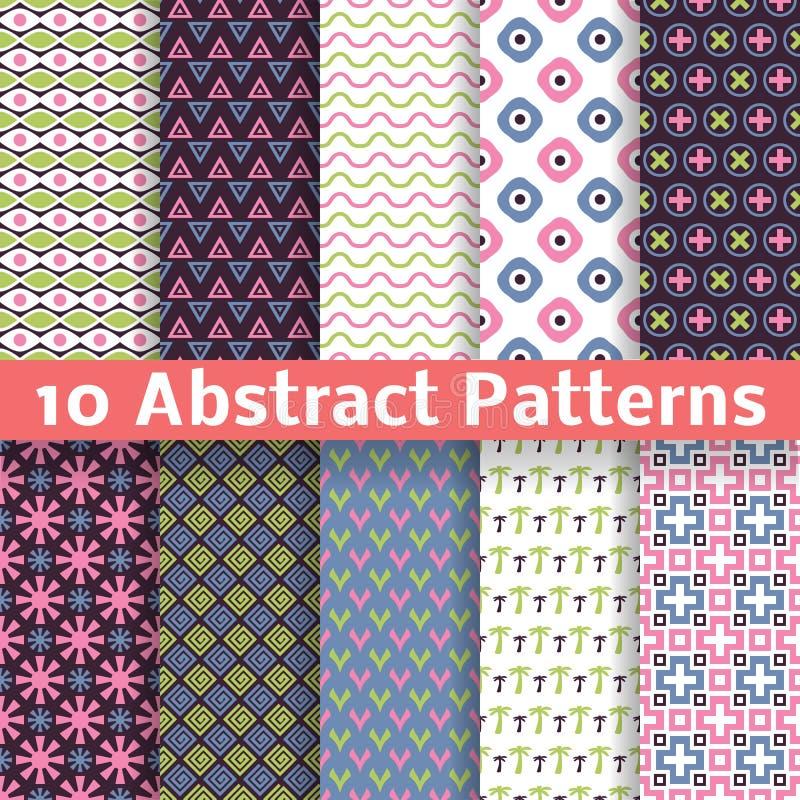 Abstrakte Muster. Satz des Vektors nahtlos stock abbildung