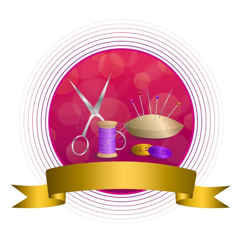 Abstrakte Nähgarnausrüstung des Hintergrundes scissors Kreisrahmenband des Knopfnadelstiftrosas violettes rotes gelbes Gold stock abbildung