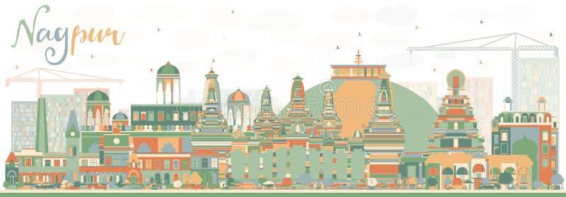 Abstrakte Nagpur-Skyline mit Farbgebäuden vektor abbildung