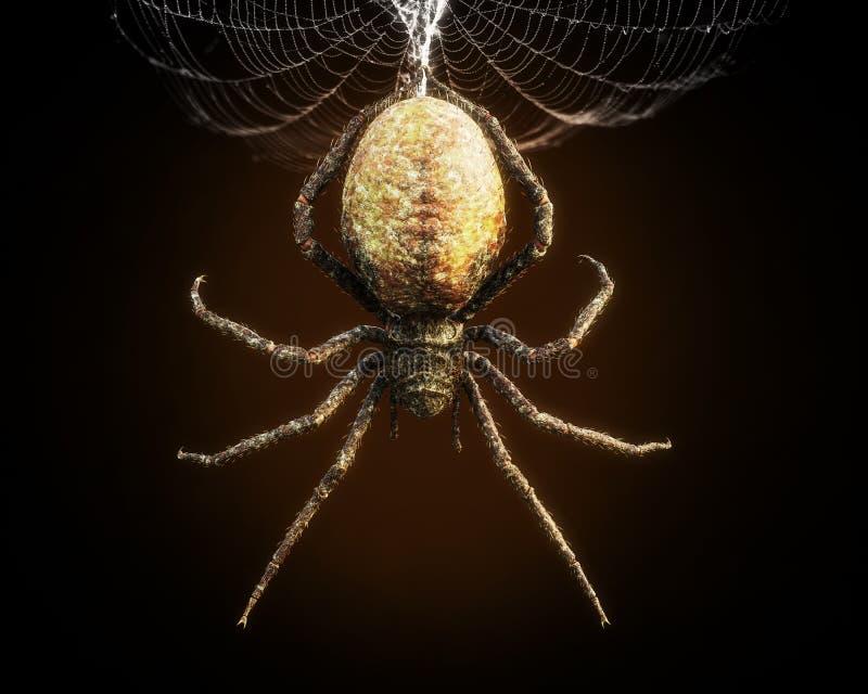 Abstrakte Nahaufnahme einer enormen Spinne, die von seinem Netz baumelt stock abbildung