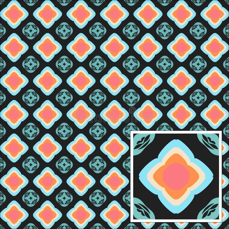 Abstrakte nahtlose blaue Kreismuster auf einer grauen Hintergrundillustration lizenzfreies stockbild