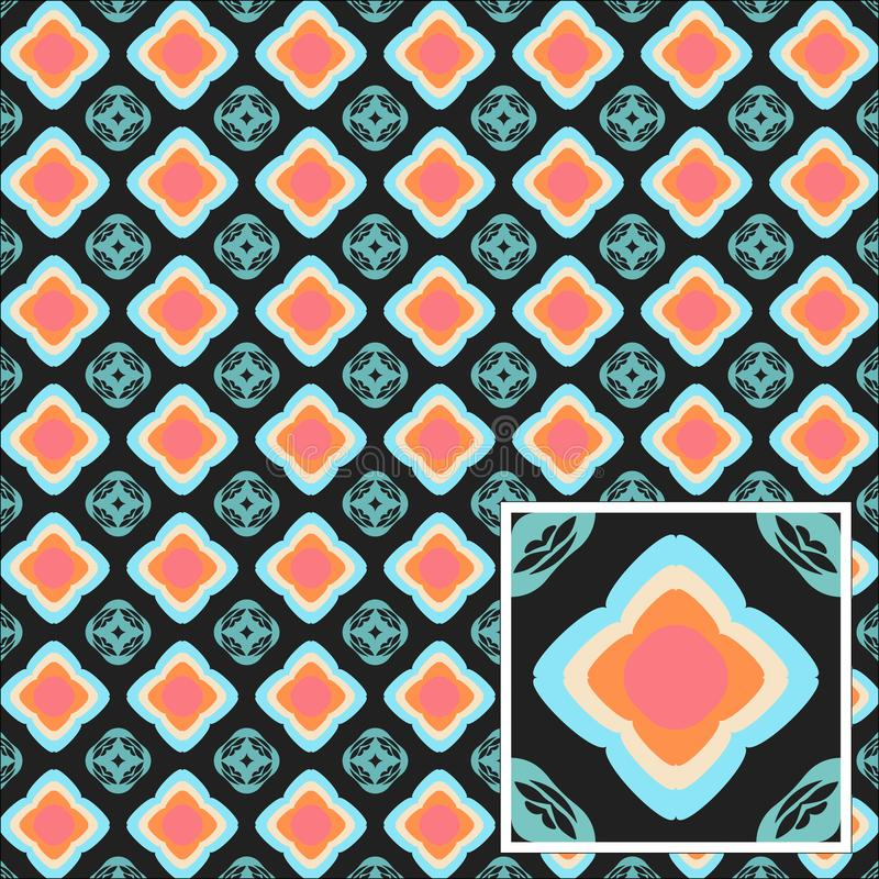 Abstrakte nahtlose blaue Kreismuster auf einer grauen Hintergrundillustration stockfoto