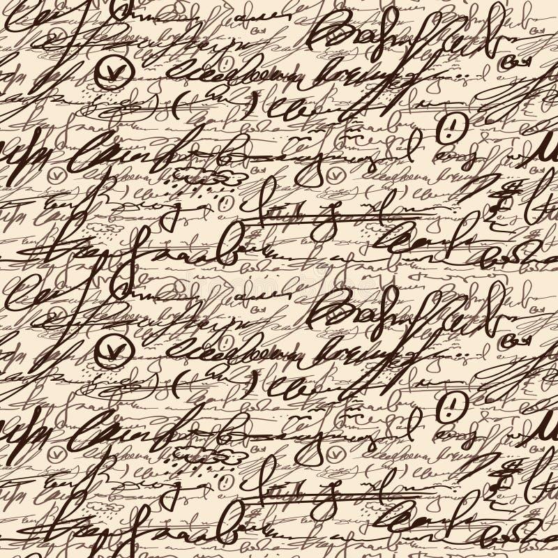 Abstrakte nahtlose Hand schreiben Muster lizenzfreie abbildung