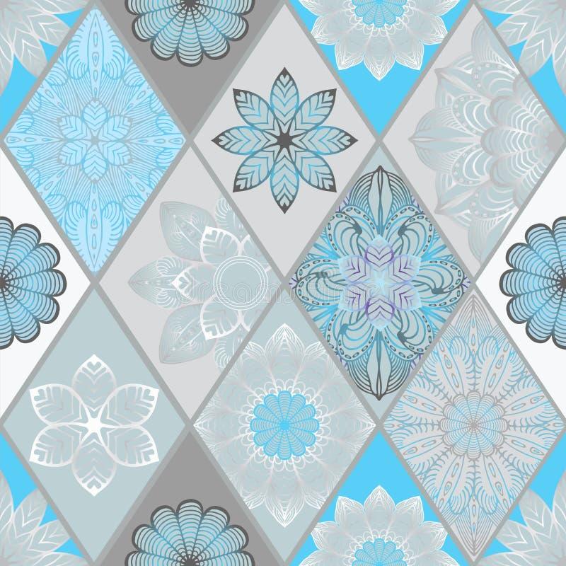 Abstrakte nahtlose Patchworkfliese mit Blumenverzierung Arabisch oder lizenzfreie stockfotografie