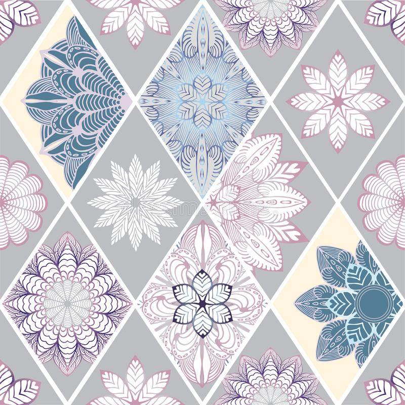Abstrakte nahtlose Patchworkfliese mit Blumenverzierung Arabisch oder stockbilder