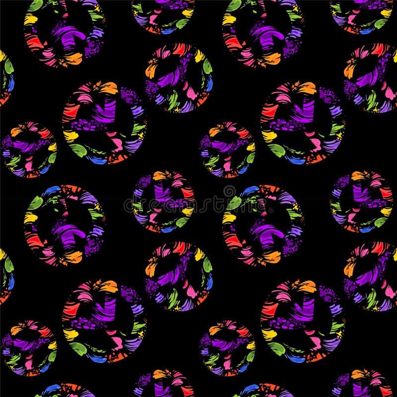 Abstrakte nahtlose schwarze Tapete mit bunten Bürstenanschlägen und Veränderungshippiefriedenssymbolen mit buntem gespritzt vektor abbildung