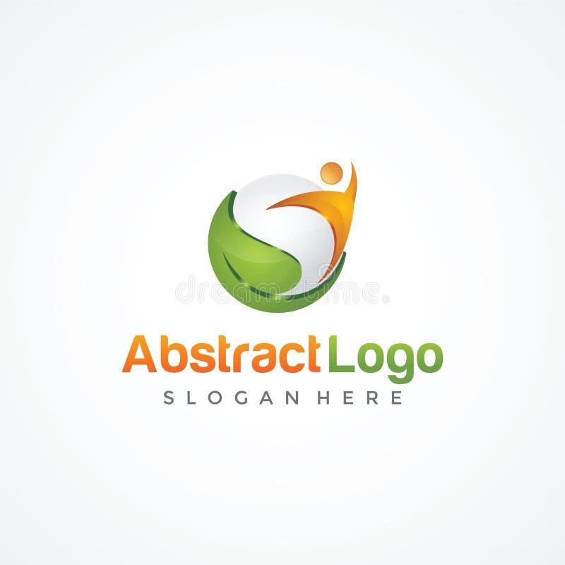 Abstrakte Natur und Leute Logo Template Vektorillustrator ENV lizenzfreie abbildung