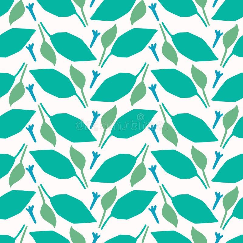Abstrakte Natur verlässt herausgeschnittene Formen Nahtloser Hintergrund des Vektormusters Handpapier, das matisse Art schneidet  lizenzfreie abbildung