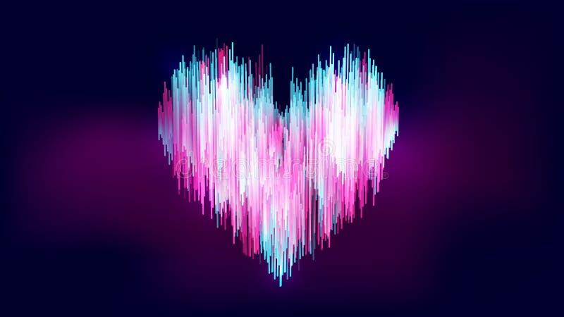 Abstrakte Neon ähnliche Art, blaue weiße rosa Herzform der bunten Steigung lizenzfreie abbildung