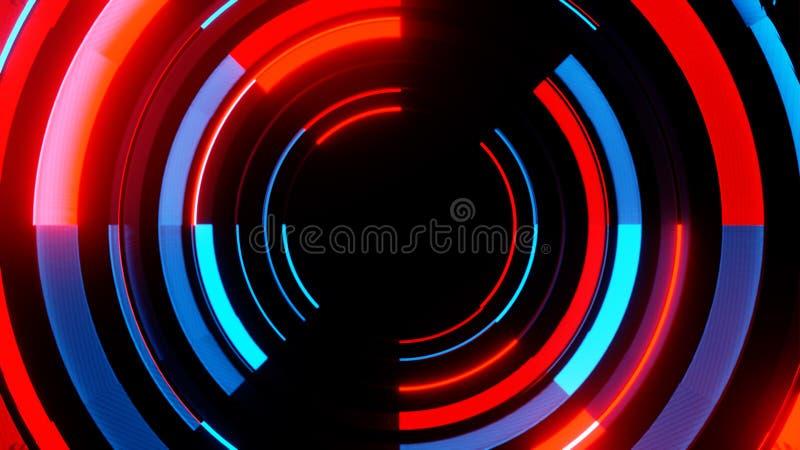 Abstrakte Neon-cicles mit schwarzem leerem Kopienrauminnere vektor abbildung
