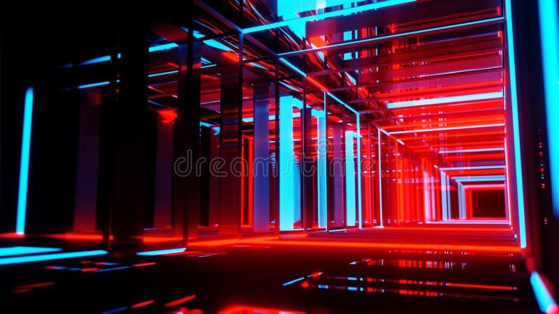 Abstrakte Neonrechtecke mit schwarzem leerem Kopienrauminnere lizenzfreie abbildung