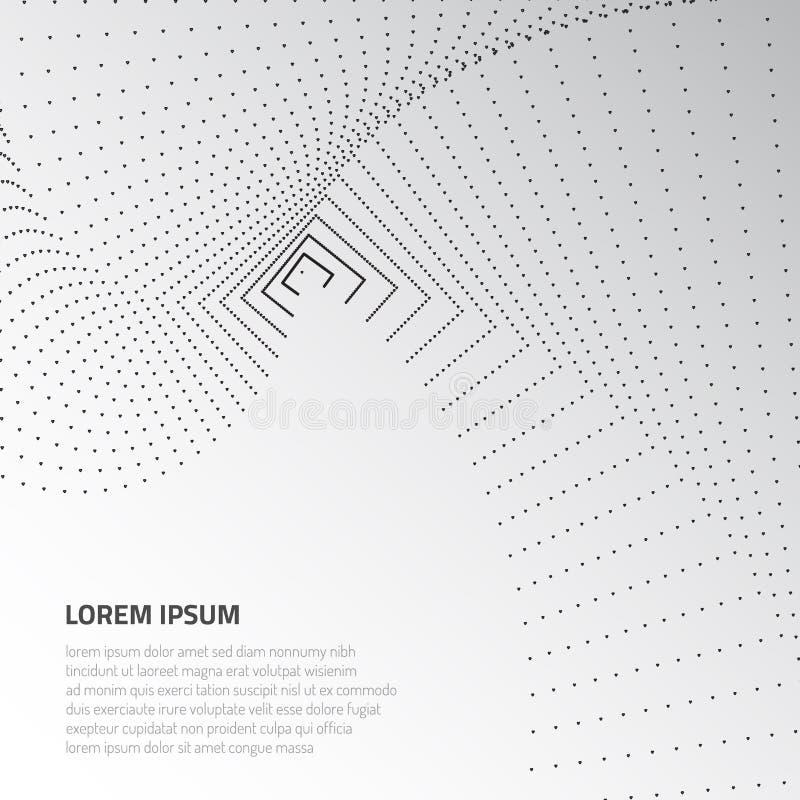 Abstrakte Oberfläche 3d Verzerrung des Raumes und der Angelegenheit Moderne Technologie für das Entwerfen von Volumengegenständen stock abbildung