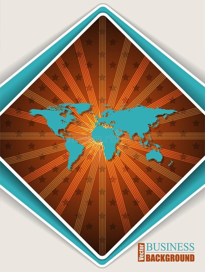 Abstrakte orange Türkisbroschüre mit Weltkarte lizenzfreie stockfotografie