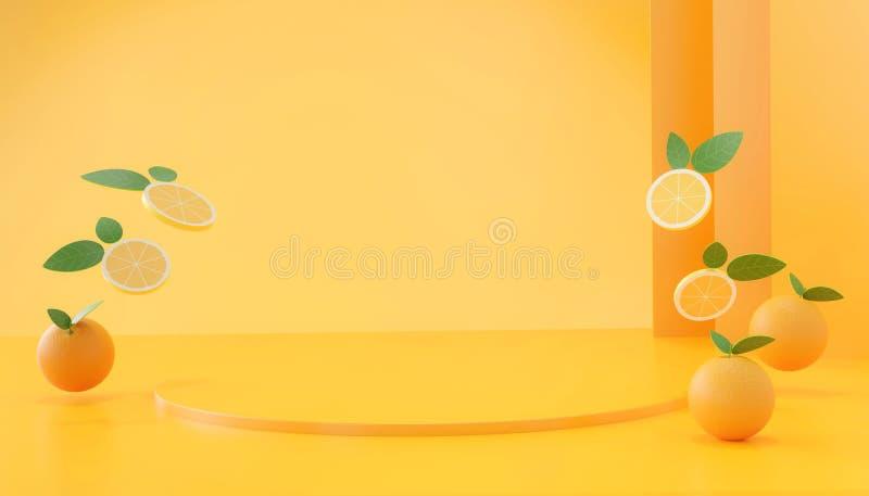 Abstrakte Orangenfrucht-Bühnenmock, Vorlage vektor abbildung