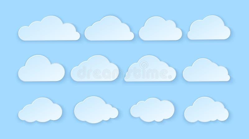 Abstrakte Papierwolken eingestellt Papierwolken auf blauem Hintergrund Auch im corel abgehobenen Betrag lizenzfreie abbildung
