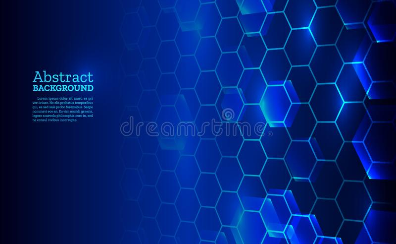 Abstrakte Perspektivenhexagone auf dem blauen Hintergrund Entwurfsschablonen für Wissenschaft stock abbildung