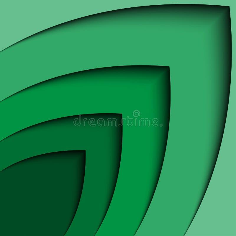Abstrakte Pfeil-Wellenlinie Zertifikatzusammenfassungshintergrund des Grüns 3d stock abbildung