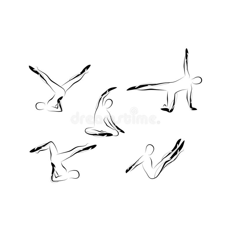 Abstrakte pilates Haltungen lizenzfreie abbildung