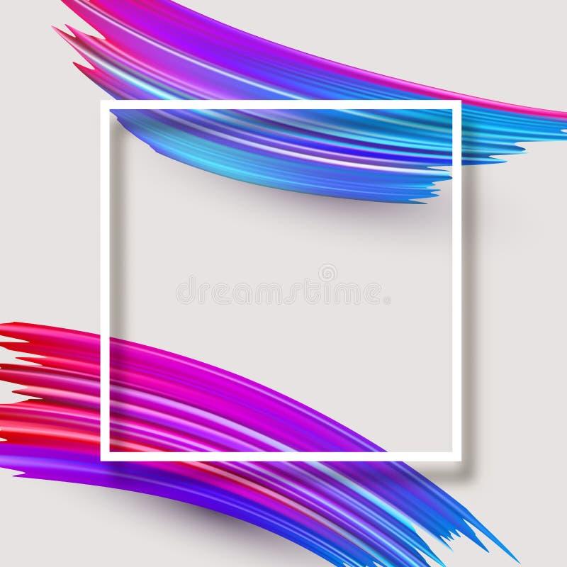 Abstrakte Plakatschablone mit weißem quadratischem Rahmen und buntem Br vektor abbildung