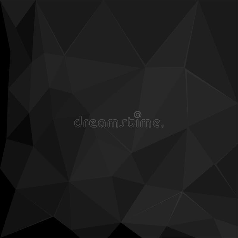 Abstrakte polygonale geometrische Facette Schwarzhintergrund-Tapetenillustration stock abbildung