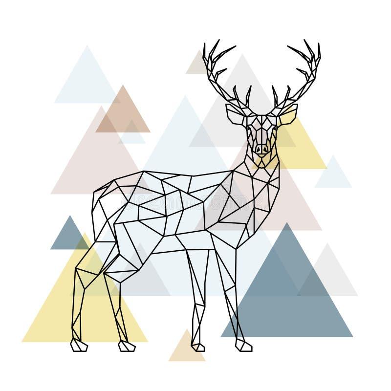 Abstrakte polygonale Rotwild Geometrische Hippie-Illustration vektor abbildung