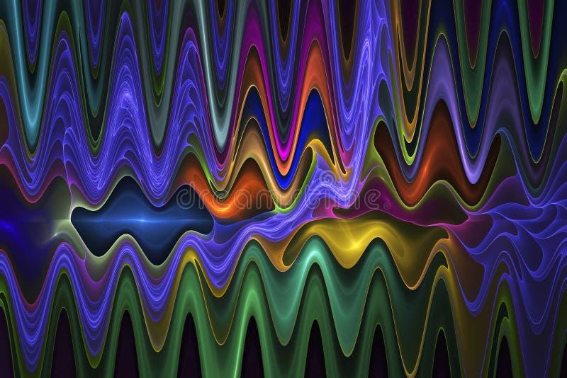 Abstrakte psychedelische Wellen auf schwarzem Hintergrund lizenzfreie abbildung