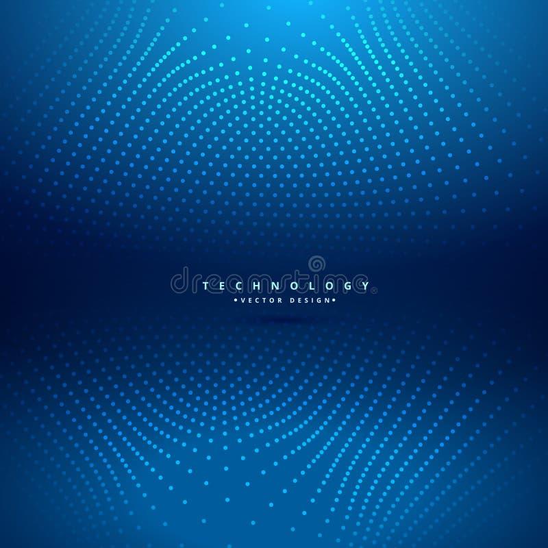 Abstrakte Punkte greifen in der blauen Hintergrundvektor-Designillustration ineinander lizenzfreie abbildung