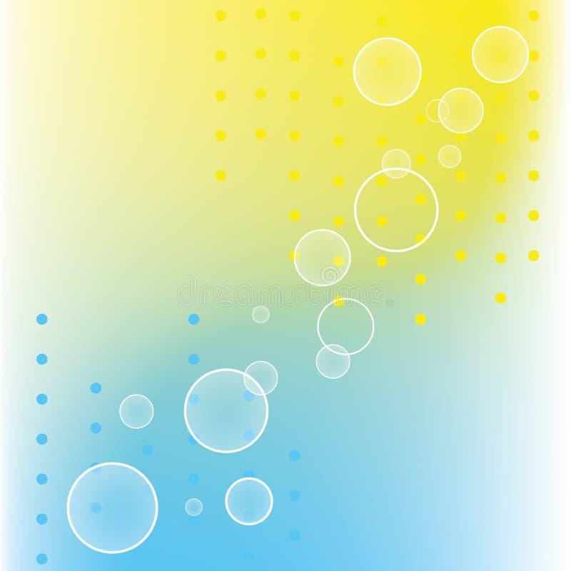 Abstrakte Punktkreise auf blauen gelben Farben vektor abbildung