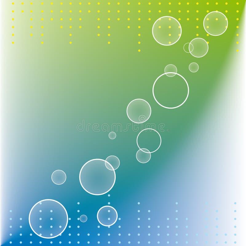 Abstrakte Punktkreise auf Hintergrund des blauen Grüns lizenzfreie abbildung