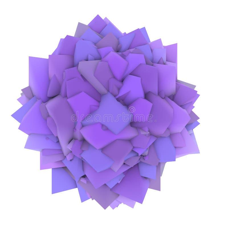 abstrakte purpurrote Form des Lavendels 3d auf Weiß stock abbildung