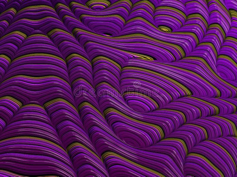 Abstrakte purpurrote und gelbe strukturierte Fractallinien und Wellen, 3d übertragen für Entwurf und Unterhaltung Hintergrund für vektor abbildung
