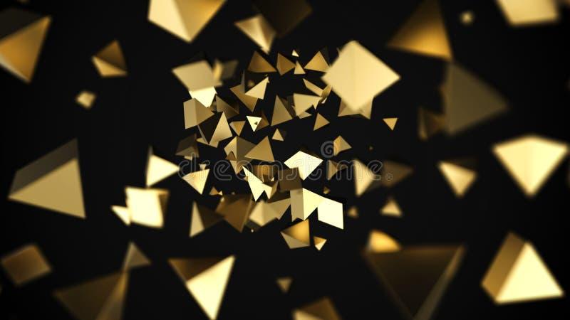Abstrakte Pyramiden des Gold 3D fließen lizenzfreie abbildung