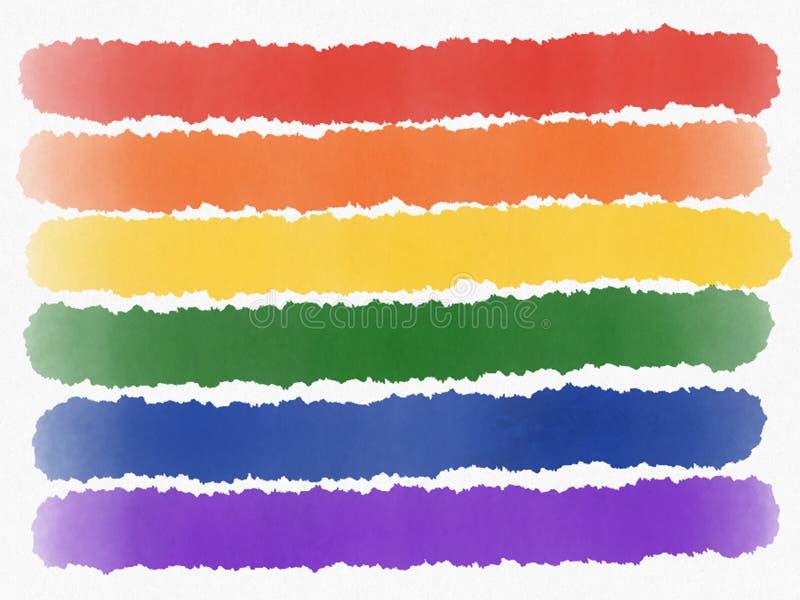 Abstrakte Regenbogenmalerei lokalisierte LGBT-Stolzflagge auf weißem Hintergrund Dekoratives Bild einer Flugwesenschwalbe ein Bla stock abbildung