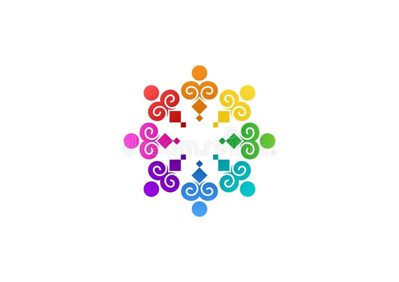 Abstrakte Regenbogenteamwork, soziales, Logo, Bildung, modernes Vektordesign einzigartigen Illustration Teams vektor abbildung